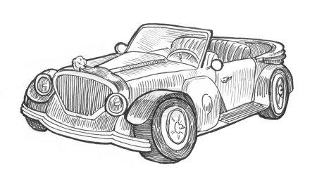 Photo pour Gravure style hachure crayon peinture illustration voiture rétro cabrio décapotable image. Gravure écoutille lithographie dessin collection . - image libre de droit