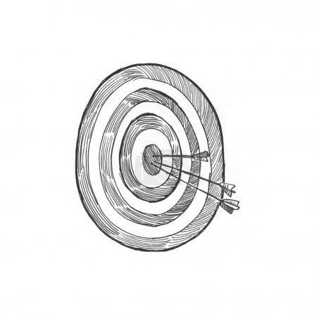 Photo for Engraving style hatching pen pencil painting illustration target marketing concept image. Arrows at bulleye target. Engrave hatch lithography drawing collection. - Royalty Free Image