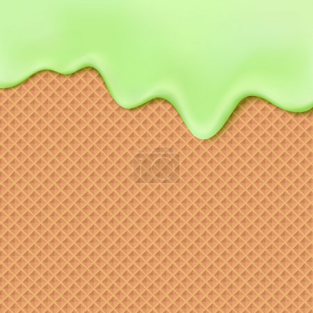 Flowing green glaze on wafer texture