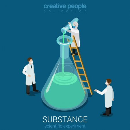 Illustration for Science experiment new substance discovery flat 3d isometry isometric chemical concept web infographics vector illustration. Micro lab workers pouring huge flask. Creative people collection. - Royalty Free Image