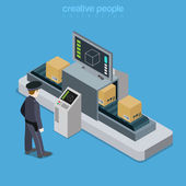 Airport transport security isometric concept