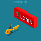 Login Sign in button isometric concept