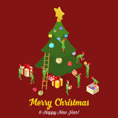 Merry Christmas isometric concept