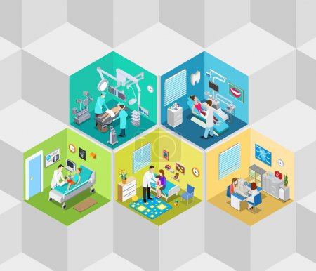 Illustration for Hospital clinic interior operation ward cells flat 3d isometry isometric concept web vector illustration. Dentist surgeon surgery ophthalmologist oculist rooms. Creative people collection. - Royalty Free Image