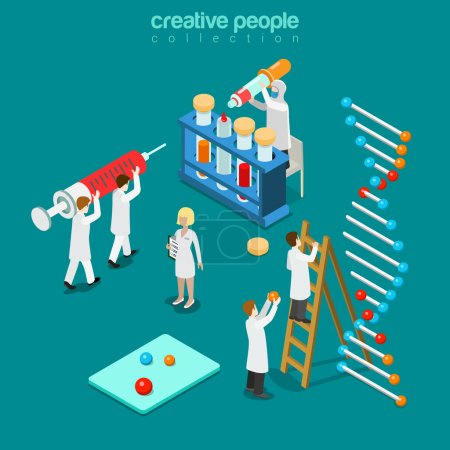 Illustration for Gene engineering chemical pharmaceutics flat 3d isometry isometric concept web vector illustration. Genetic lab micro people syringe DNA chain test tube pipette doctor. Creative people collection. - Royalty Free Image