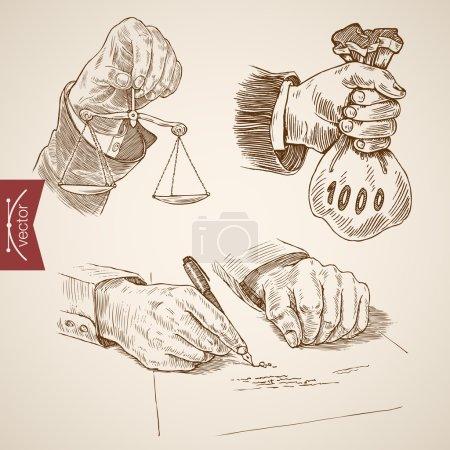 Illustration pour Droit juridique accessoire d'affaires, Justice échelles salaires juge marteau main icône ensemble. Style gravure stylo crayon crosshatch hachure papier peinture rétro vintage vecteur linéaire illustration . - image libre de droit