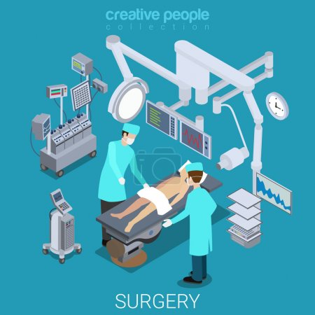 Hospital operating room isometric concept