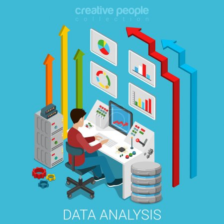 Illustration for Data analysis flat 3d isometry isometric marketing business technology concept web vector illustration. Casual man working with server computer management interface button remote controller and arrows - Royalty Free Image