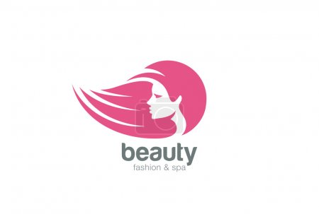Illustration for Beautiful woman head abstract Logo design vector template Negative space style - Royalty Free Image