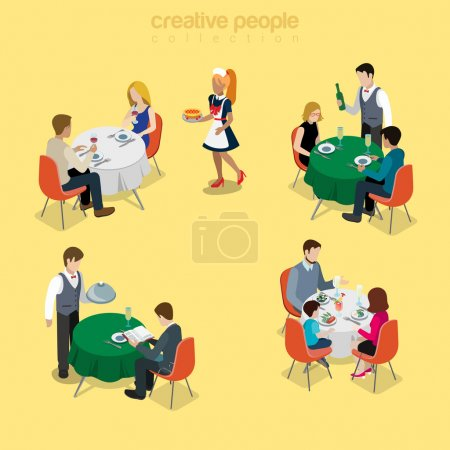 Illustration for Restaurant table waiter situations flat 3d isometry isometric food meal concept web vector illustration. Couple romantic dinner champagne business lunch family breakfast. Creative people collection. - Royalty Free Image