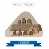 Mount Nemrut in Turkey Flat cartoon style historic sight showplace attraction web site vector illustration World countries cities vacation travel sightseeing Asia collection