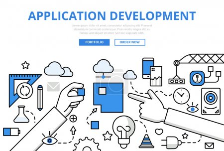 Illustration for Application software app development programming concept flat line art vector icons. Long hands combine square puzzle. Modern website infographic illustration hero image web banner. Lineart collection - Royalty Free Image
