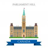 Parliament Hill in Ottawa Ontario Canada Flat cartoon style historic sight showplace attraction web site vector illustration World countries cities vacation sightseeing North America collection