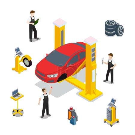 Illustration pour Modèle vectoriel de maquette de service de voiture rouge d'inspection technique. Illustration du site Web du véhicule de vérification isométrique. Roue de voiture rouge pneu caoutchouc ordinateur infographie diagnostique automatique sur fond blanc . - image libre de droit