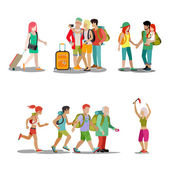 Family vacation people icon set