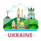 Ukraine country design template Flat cartoon style historic sight showplace web site vector illustration World travel Europe collection Kyiv Pechersk Lavra Monastery St Andrew's Church Golden Gates