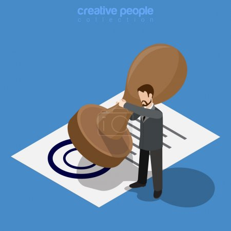 Illustration for Isometric business concept. Micro office worker man make approve by huge stamp printed document. Flat 3d isometry web site conceptual vector illustration. Creative people collection. - Royalty Free Image