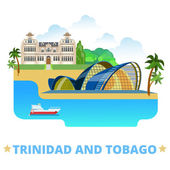 Trinidad and Tobago country badge fridge magnet design template Flat cartoon style historic sight showplace web site vector illustration World vacation travel sightseeing North America collection National Academy of Performing Arts National Museum