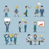 Linear line art flat style business people figures icons Web template vector icon set Lifestyle situations icons Marketing target chat message talk banner hands handshake party report presentation