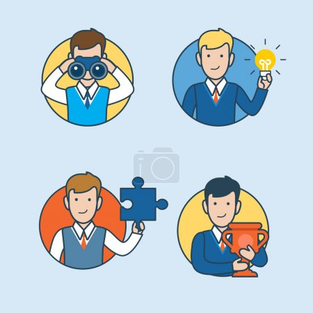 Illustration for Linear Flat Businessmen looking binoculars, holding lamp, puzzle and cup vector illustration. Research, Idea, Work, Success business concept. - Royalty Free Image