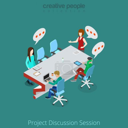 Business people discuss project