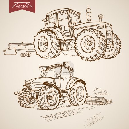 Pencil Sketch Farm Machinery