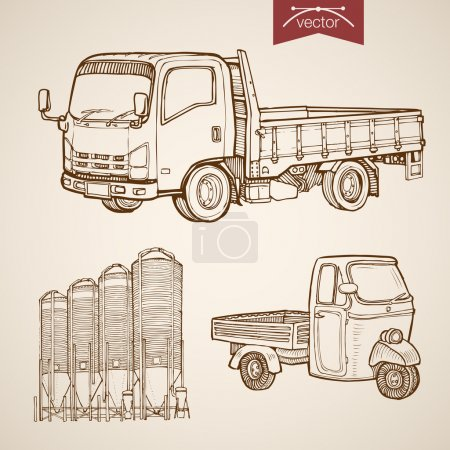 Illustration for Engraving vintage hand drawn vector pickup, silos of concrete mixing plant collection. Pencil Sketch wheeled cargo transport illustration - Royalty Free Image