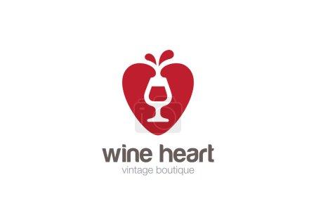 Glass Wine in Heart Logo design
