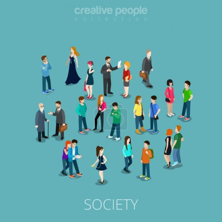 Isometric flat Crowd of people