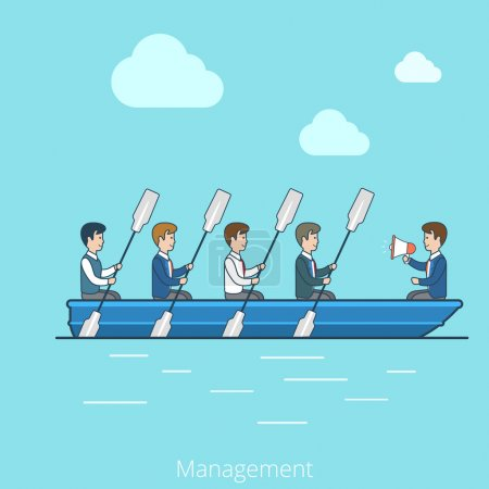 Businessmen rowing oars in boat