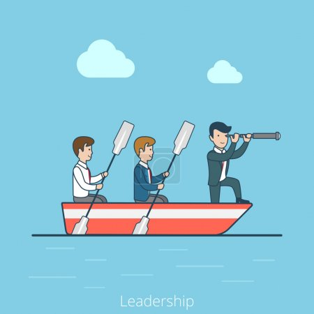 Businessmen in rowing boat