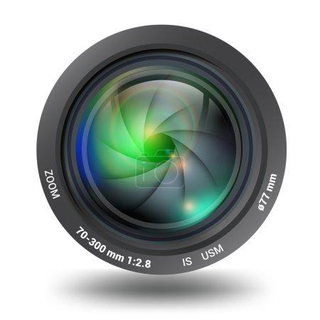 Illustration pour Objectif de la caméra vue de face isolée illustration vectorielle réaliste de fusée éclairante. Caméras photo et vidéo collection d'accessoires et d'équipements - image libre de droit