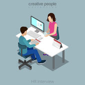 Flat isometric Job Interview in office