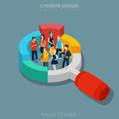 Group of people inside magnifier diagram