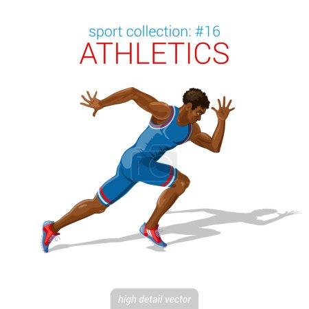 Runner black man athlete sprinter.