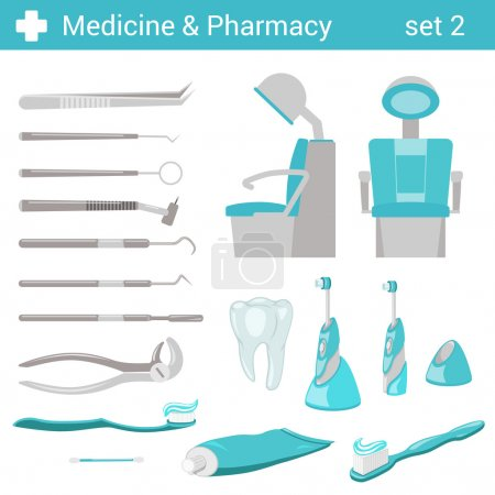 Illustration for Flat style medical dental hospital equipment icon set. Dentist seat, toothbrush, toothpaste, tooth, mirror, forceps. Medicine pharmacy collection. - Royalty Free Image