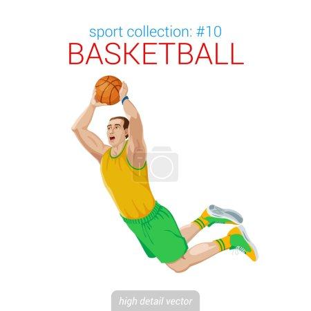 Basketball player  jam jump.