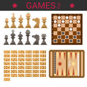 Chess figures, checkers, domino, backgammon.