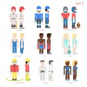 Flat style sportsmen people vector icons set Baseball batter hockey football tennis player boxer skateboarder karate fighter athlete Flat sportsman people collection
