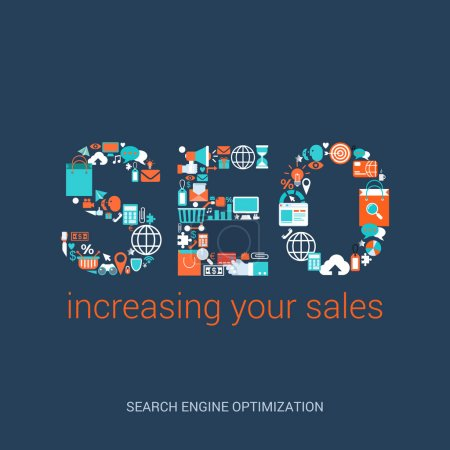 Illustration for Flat style design vector illustration SEO concept increasing your sales. Search engine optimization abbreviation formed by variety plenty of related icons. Big flat conceptual collection. - Royalty Free Image