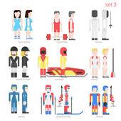 sportsmen people  icons set