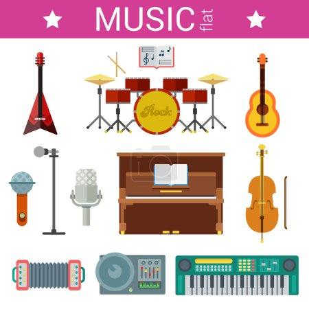 Illustration pour Conception plate d'instruments de musique ensemble d'icônes vectorielles. Guitares, pianos, microphones. Collection d'objets plats . - image libre de droit