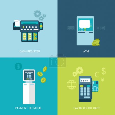 Illustration for Flat design vector illustration concept bank finance electronic devices. Cash register, ATM, payment terminal, mobile payout. Big flat objects icons collection. - Royalty Free Image