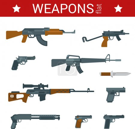Flat design weapons icon set.
