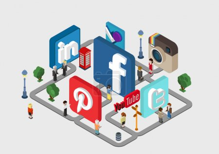 Illustration for Social Media Street flat style 3D isometric vector illustration concept. People on the street between logos of social network services facebook Instagram twitter foursquare. - Royalty Free Image