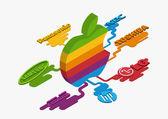 concept of Apple multicolor logo