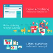 Online marketing concept flat icons