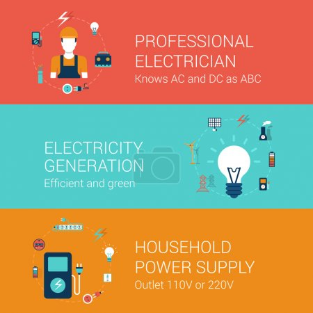 Electricity service icons set