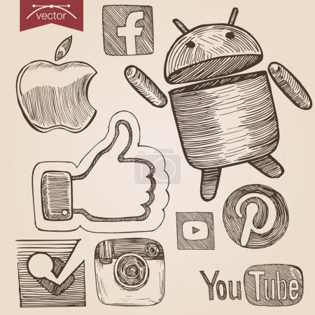 Illustration for Engraving style crosshatch pen on paper sketch retro vintage vector lineart illustration set of social media icons. Apple, facebook, android, like sign, pinterest, YouTube, Instagram, Foursquare stylization. - Royalty Free Image