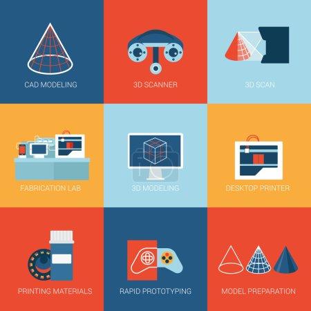 Illustration pour Set d'icônes plates modélisation de la technologie 3D, numérisation de scanner, impression d'imprimante, prototypage de prototype. web click infographie style, collection d'illustrations vectorielles . - image libre de droit